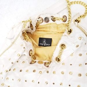 Baby Phat White Faux Leather Purse Gold Chains